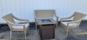 (300) Outdoor Patio Set- Gas Fire-pit, 2 Wicker Chairs, Wicker Love-seat w/pillows