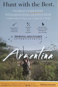 (307) Argentina Dove Hunt 3 days and 3 Nights for 2 people (could be 4 if want to double winning price). All meals, transportation, lodging, English speaking guides and other services. Does not include airfare. Must be used within one year of purchase. Mo