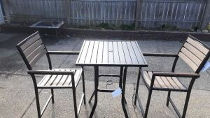 "(311) Outdoor Tall Table and 2 Chairs. Slotted 40"" tall table by Gardenline 28""x28"" and 2 tall chairs"