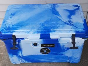 (329) 45 Qt Cooler. Blue & White by Mitten Coolers