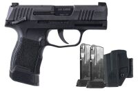 (341) Sig Sauer P365 9MM Handgun plus, Black includes 3-12 round clips and holster