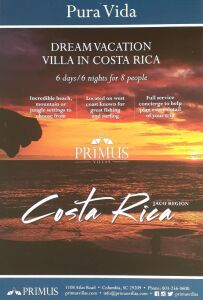 (308) Costa Rica Trip. This is a good for 6 day/night for up to 8 people to a 4 bedroom Primus Costa Rican Villa. This does not include transportation, food or any other accommodations. Must be used within one year of purchase. More info our website: www.