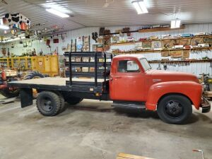 "1950 Chevy Mod. 4400, 1-ton stake truck, 12' bed, straight 6, manual transmission, 7.5X20"" duals, VIN #21KD1989"