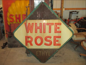 "RARE 4'X4' Porcelain Diamond ""White Rose"" double sided gas station hanging pole sign"